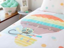 Jeanette the Cat Organic Kids Bedding featuring a closeup of the illustration