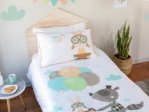 Ron the Raccoon Organic Kids Bedding aerial profile
